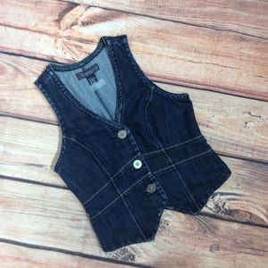 Baccini Womens Fitted Denim Vest Size Small
